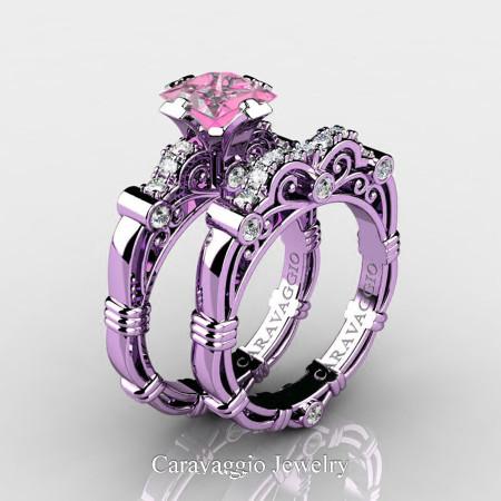 Art Masters Caravaggio 14K Lilac Gold 1.25 Ct Princess Light Pink Sapphire Diamond Engagement Ring Wedding Band Set R623PS-14KLGDLPS