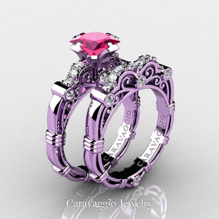 Art Masters Caravaggio 14K Lilac Gold 1.25 Ct Princess Pink Sapphire Diamond Engagement Ring Wedding Band Set R623PS-14KLGDPS