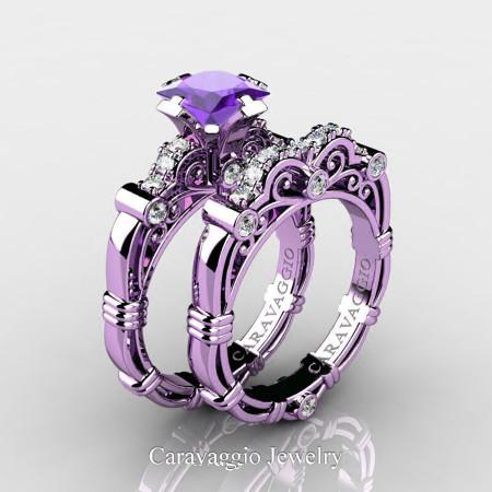 Art Masters Caravaggio 14K Lilac Gold 1.25 Ct Princess Tanzanite Diamond Engagement Ring Wedding Band Set R623PS-14KLGDTA