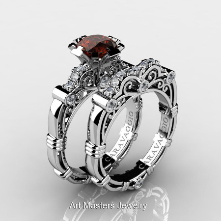 Art Masters Caravaggio 14K White Gold 1.0 Ct Brown and White Diamond Engagement Ring Wedding Band Set R623S-14KWGDBRD