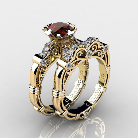 Art Masters Caravaggio 14K Yellow Gold 1.0 Ct Brown and White Diamond Engagement Ring Wedding Band Set R623S-14KYGDBRD