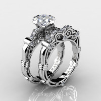 Art Masters Caravaggio 950 Platinum 1.25 Ct Princess White Topaz Diamond Engagement Ring Wedding Band Set R623PS-PLATDWT