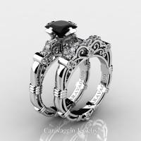 Art Masters Caravaggio 950 Platinum 1.25 Ct Princess Black Sapphire Diamond Engagement Ring Wedding Band Set R623PS-PLATDBLS