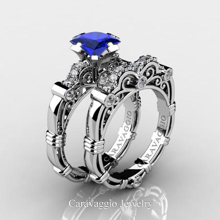 Art Masters Caravaggio 950 Platinum 1.25 Ct Princess Blue Sapphire Diamond Engagement Ring Wedding Band Set R623PS-PLATDBS