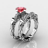 Art Masters Caravaggio 950 Platinum 1.25 Ct Princess Ruby Diamond Engagement Ring Wedding Band Set R623PS-PLATDR