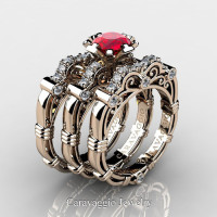 Art Masters Caravaggio Trio 14K Rose Gold 1.0 Ct Ruby Diamond Engagement Ring Wedding Band Set R623S3-14KRGDR