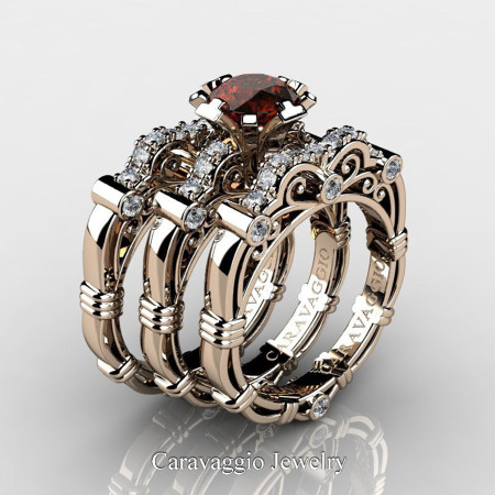 Art Masters Caravaggio Trio 14K Rose Gold 1.0 Ct Brown and White Diamond Engagement Ring Wedding Band Set R623S3-14KRGDBRD