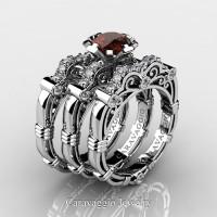 Art Masters Caravaggio Trio 14K White Gold 1.0 Ct Brown and White Diamond Engagement Ring Wedding Band Set R623S3-14KWGDBRD