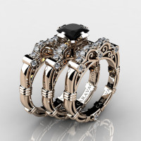 Art Masters Caravaggio Trio 14K Rose Gold 1.25 Ct Princess Black Sapphire Diamond Engagement Ring Wedding Band Set R623PS3-14KRGDBLS