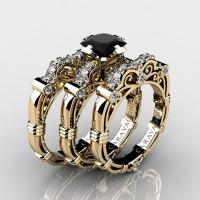 Art Masters Caravaggio Trio 14K Yellow Gold 1.25 Ct Princess Black and White Diamond Engagement Ring Wedding Band Set R623PS3-14KYGDBD