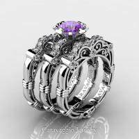 Art Masters Caravaggio Trio 950 Platinum 1.0 Ct Lilac Amethyst Diamond Engagement Ring Wedding Band Set R623S3-PLATDLAM