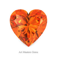 Art Masters Gems Standard 0.5 Ct Heart Orange Sapphire Created Gemstone HCG050-OS