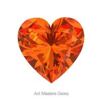Art Masters Gems Standard 0.75 Ct Heart Orange Sapphire Created Gemstone HCG075-OS