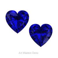 Art Masters Gems Set of Two Standard 0.75 Ct Heart Blue Sapphire Created Gemstones HCG075S-BS