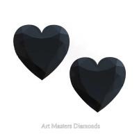 Art Masters Gems Set of Two Standard 1.0 Ct Heart Black Diamond Zirconium Created Gemstones HCG100S-BD