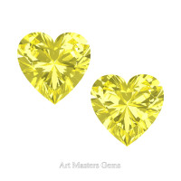 Art Masters Gems Set of Two Standard 1.0 Ct Heart Canary Yellow Sapphire Created Gemstones HCG100S-CYS