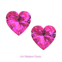 Art Masters Gems Set of Two Standard 1.0 Ct Heart Pink Sapphire Created Gemstones HCG100S-PS