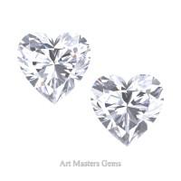 Art Masters Gems Set of Two Standard 1.0 Ct Heart White Sapphire Created Gemstones HCG100S-WS