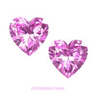 Art Masters Gems Set of Two Standard 1.5 Ct Heart Light Pink Sapphire Created Gemstones HCG150S-LPS