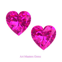 Art Masters Gems Set of Two Standard 1.5 Ct Heart Pink Sapphire Created Gemstones HCG150S-PS