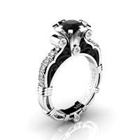 Art Masters Michelangelo 14K Two Tone White Gold 1.0 Ct Black and White Diamond Engagement Ring R723-14KWBGDBD