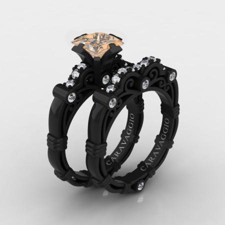Art-Masters-Caravaggio-14K-Black-Gold-1-25-Carat-Princess-Champagne-and-White-Diamond-Engagement-Ring-Wedding-Band-Set-R623PS-14KWBGDCHD-P