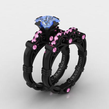 Art-Masters-Caravaggio-14K-Black-Gold-1-25-Carat-Princess-Light-Blue-and-Pink-Sapphire-Engagement-Ring-Wedding-Band-Set-R623PS-14KBGLPSLBS-P