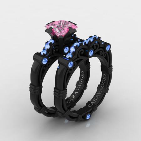Art-Masters-Caravaggio-14K-Black-Gold-1-25-Carat-Princess-Light-Pink-and-Blue-Sapphire-Engagement-Ring-Wedding-Band-Set-R623PS-14KBGLBSLPS-P