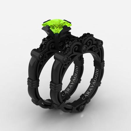 Art-Masters-Caravaggio-14K-Black-Gold-1-25-Carat-Princess-Peridot-Black-Diamond-Engagement-Ring-Wedding-Band-Set-R623PS-14KBGBDP-P