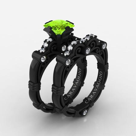 Art-Masters-Caravaggio-14K-Black-Gold-1-25-Carat-Princess-Peridot-Diamond-Engagement-Ring-Wedding-Band-Set-R623PS-14KBGDP-P