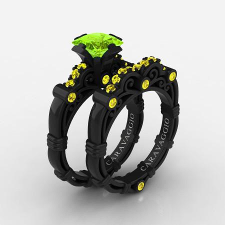 Art-Masters-Caravaggio-14K-Black-Gold-1-25-Carat-Princess-Peridot-Yellow-Sapphire-Engagement-Ring-Wedding-Band-Set-R623PS-14KBGYSP-P