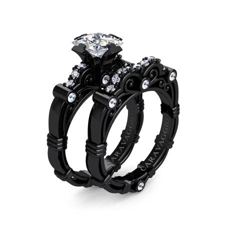 Art-Masters-Caravaggio-14K-Black-Gold-1-25-Carat-Princess-White-Topaz-Diamond-Engagement-Ring-Wedding-Band-Set-R623PS-14KBGDWT-P