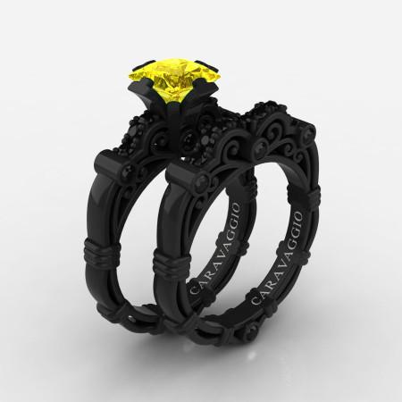 Art-Masters-Caravaggio-14K-Black-Gold-1-25-Carat-Princess-Yellow-Sapphire-Black-Diamond-Engagement-Ring-Wedding-Band-Set-R623PS-14KBGBDYS-P