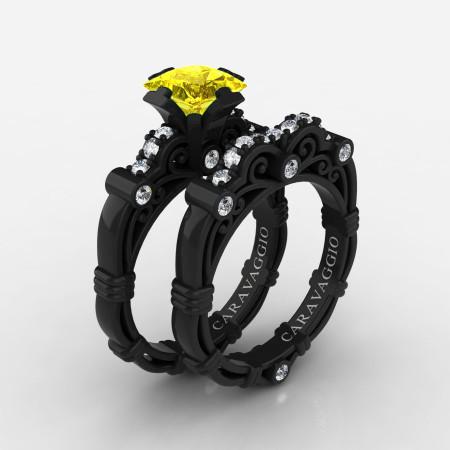 Art-Masters-Caravaggio-14K-Black-Gold-1-25-Carat-Princess-Yellow-Sapphire-Diamond-Engagement-Ring-Wedding-Band-Set-R623PS-14KBGDYS-P