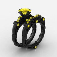 Art Masters Caravaggio 14K Black Gold 1.25 Ct Princess Yellow Sapphire Engagement Ring Wedding Band Set R623PS-14KBGYS