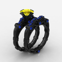 Art Masters Caravaggio 14K Black Gold 1.25 Ct Princess Yellow and Blue Sapphire Engagement Ring Wedding Band Set R623PS-14KBGBSYS