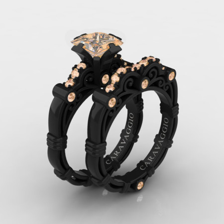 Art-Masters-Caravaggio-14K-Black-Gold-1-5-Carat-Princess-Champagne-Diamond-Engagement-Ring-Wedding-Band-Set-R623PS-14KBGCHD-P