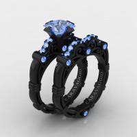 Art Masters Caravaggio 14K Black Gold 1.25 Ct Princess Light Blue Sapphire Engagement Ring Wedding Band Set R623PS-14KBGLBS