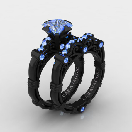 Art-Masters-Caravaggio-14K-Black-Gold-1-5-Carat-Princess-Light-Blue-Sapphire-Engagement-Ring-Wedding-Band-Set-R623PS-14KBGLBS-P