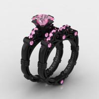 Art Masters Caravaggio 14K Black Gold 1.25 Ct Princess Light Pink Sapphire Engagement Ring Wedding Band Set R623PS-14KBGLPS