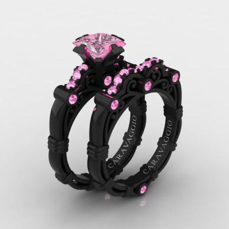 Art-Masters-Caravaggio-14K-Black-Gold-1-5-Carat-Princess-Light-Pink-Sapphire-Engagement-Ring-Wedding-Band-Set-R623PS-14KBGLPS-P