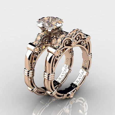 Art-Masters-Caravaggio-14K-Rose-Gold-1-25-Carat-Princess-Champagne-Diamond-Engagement-Ring-Wedding-Band-Set-R623PS-14KRGCHD-P