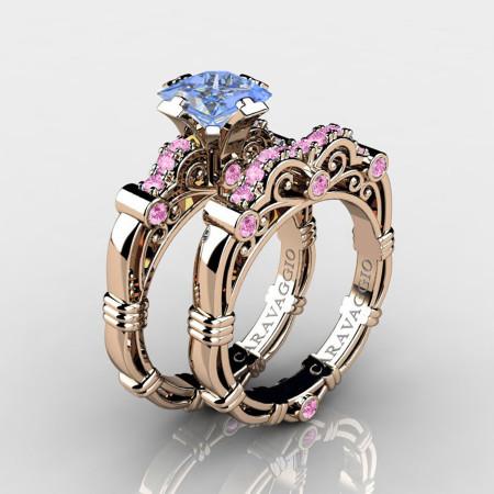 Art-Masters-Caravaggio-14K-Rose-Gold-1-25-Carat-Princess-Light-Blue-and-Pink-Sapphire-Engagement-Ring-Wedding-Band-Set-R623PS-14KRGLPSLBS-P