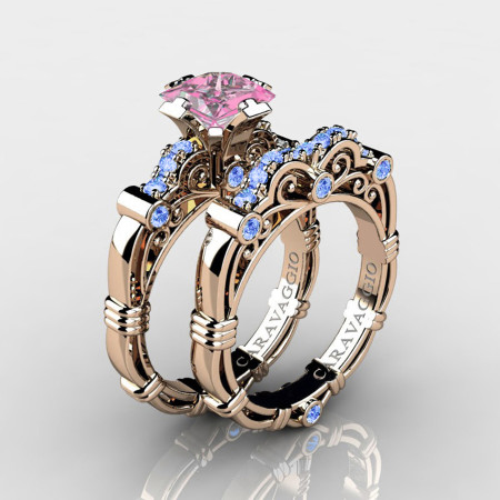 Art-Masters-Caravaggio-14K-Rose-Gold-1-25-Carat-Princess-Light-Pink-and-Blue-Sapphire-Engagement-Ring-Wedding-Band-Set-R623PS-14KRGLBSLPS-P