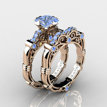Art-Masters-Caravaggio-14K-Rose-Gold-1-5-Carat-Princess-Light-Blue-Sapphire-Engagement-Ring-Wedding-Band-Set-R623PS-14KRGLBS-P