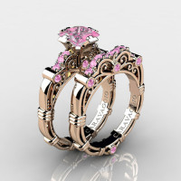 Art Masters Caravaggio 14K Rose Gold 1.25 Ct Princess Light Pink Sapphire Engagement Ring Wedding Band Set R623PS-14KRGLPS