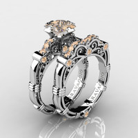 Art Masters Caravaggio 14K White Gold 1.25 Ct Princess Champagne Diamond Engagement Ring Wedding Band Set R623PS-14KWGCHD