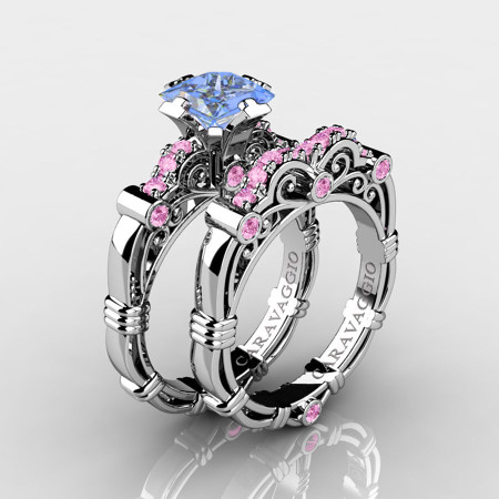 Art-Masters-Caravaggio-14K-White-Gold-1-25-Carat-Princess-Light-Blue-and-Pink-Sapphire-Engagement-Ring-Wedding-Band-Set-R623PS-14KWGLPSLBS-P