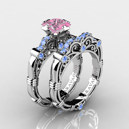 Art-Masters-Caravaggio-14K-White-Gold-1-25-Carat-Princess-Light-Pink-and-Blue-Sapphire-Engagement-Ring-Wedding-Band-Set-R623PS-14KWGLBSLPS-P