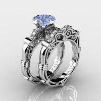 Art Masters Caravaggio 14K White Gold 1.25 Ct Princess Light Blue Sapphire Diamond Engagement Ring Wedding Band Set R623PS-14KWGDLBS